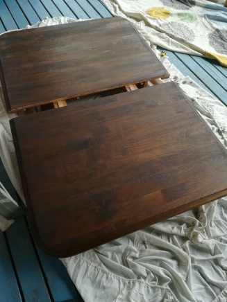 The table top after one coat of stain