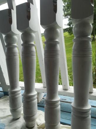 Freshly painted table legs